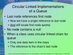 circular linked implementations of a queue