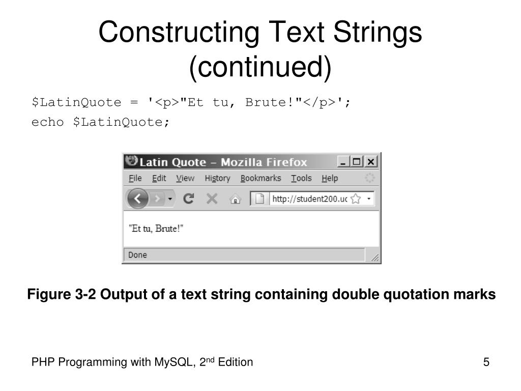 Constructing Text Strings (continued)