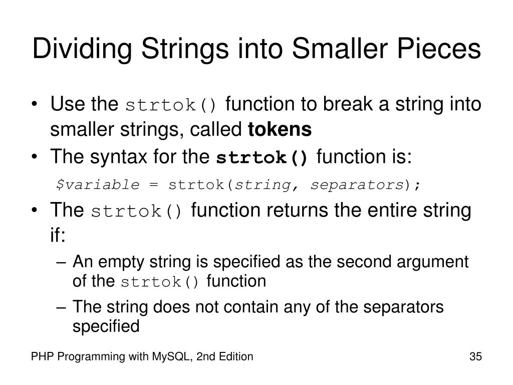 Dividing Strings into Smaller Pieces