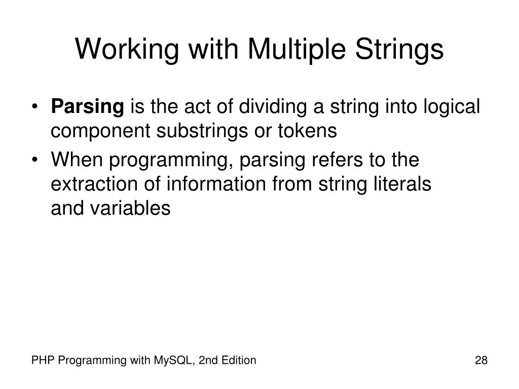 Working with Multiple Strings