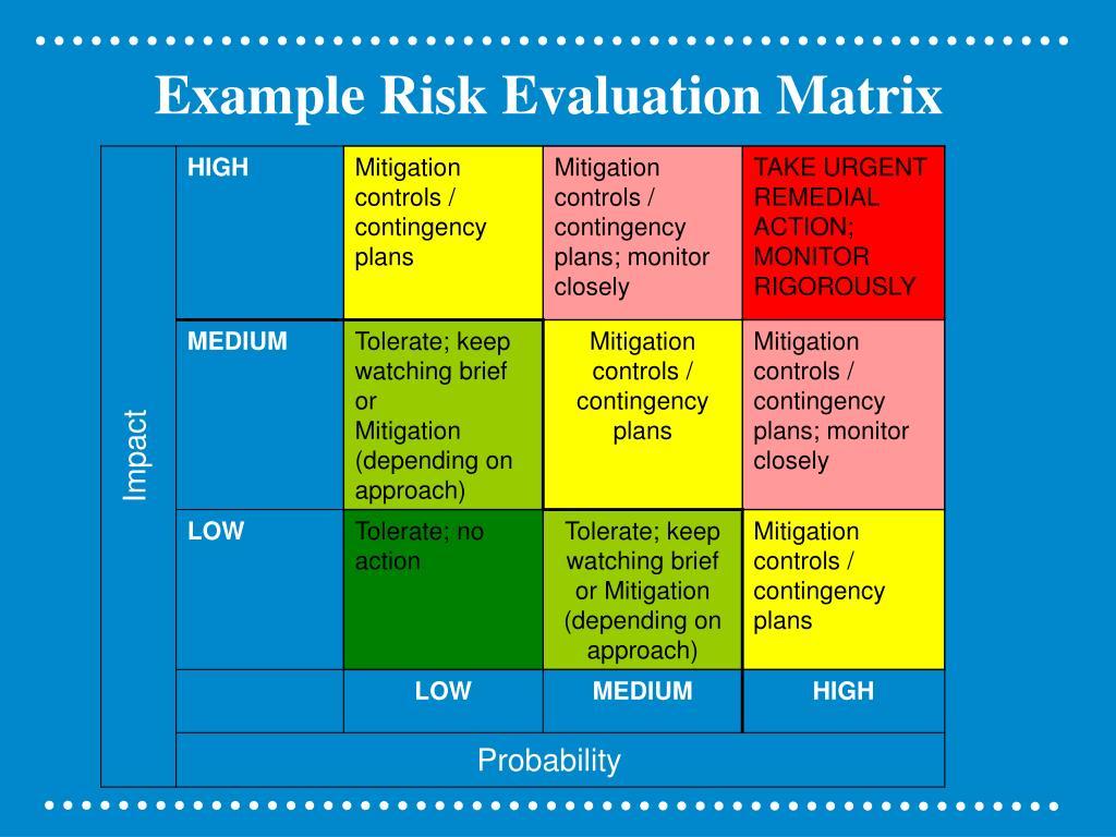Example Risk Evaluation Matrix