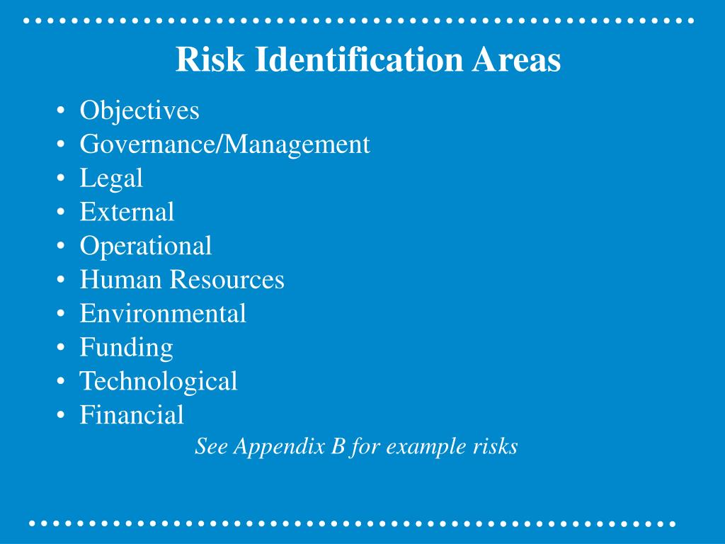 Risk Identification Areas