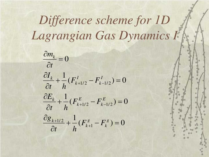Difference scheme for 1D Lagrangian Gas Dynamics I