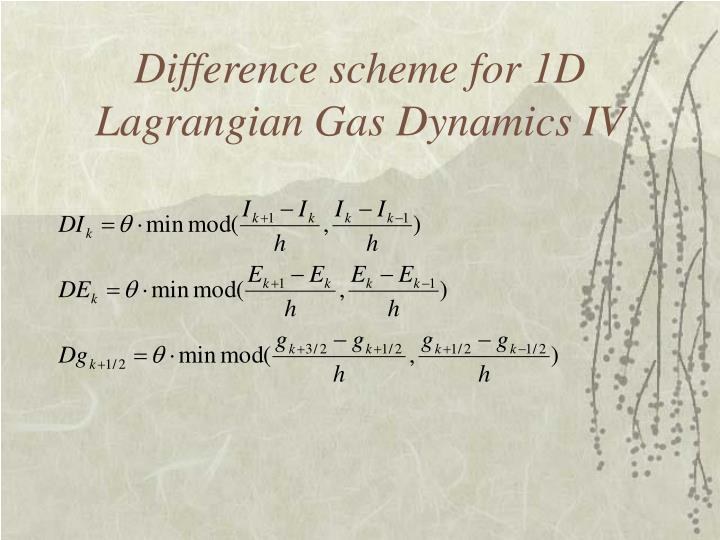 Difference scheme for 1D Lagrangian Gas Dynamics IV