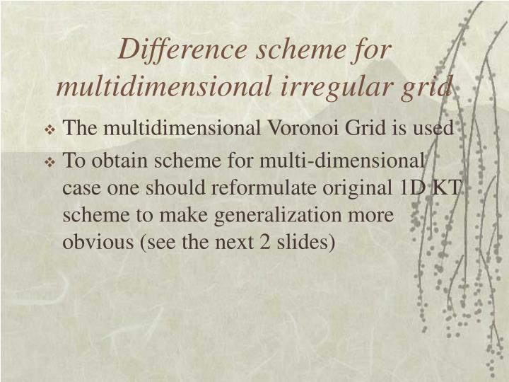 Difference scheme for multidimensional irregular grid