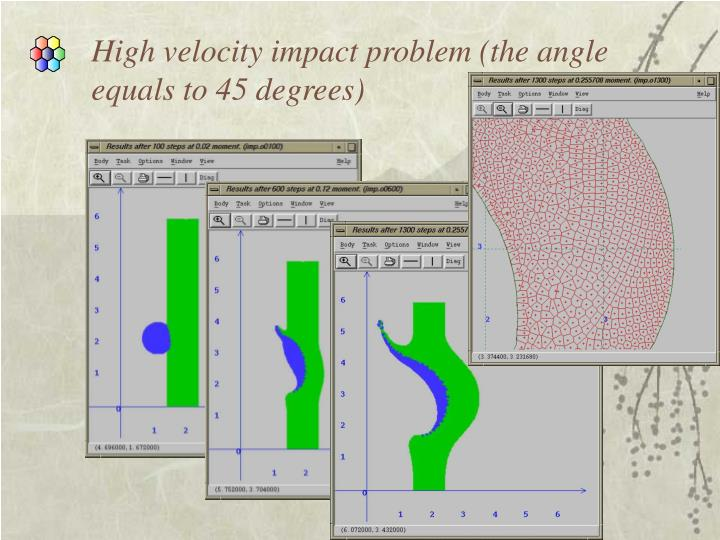 High velocity impact problem (the angle equals to 45 degrees)