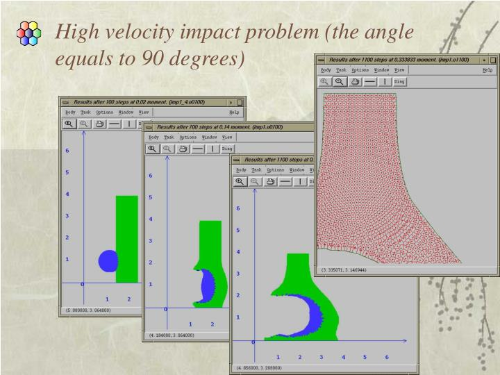High velocity impact problem (the angle                                                                  equals to 90 degrees)