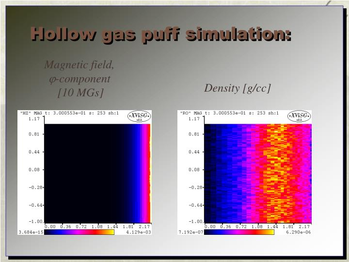 Hollow gas puff simulation: