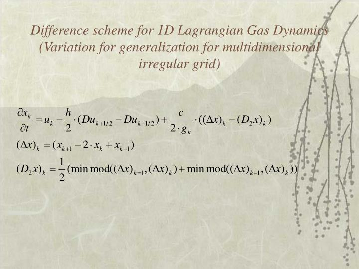 Difference scheme for 1D Lagrangian Gas Dynamics (Variation for generalization for multidimensional irregular grid)