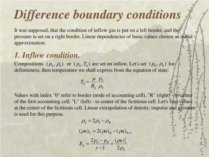 Difference boundary conditions