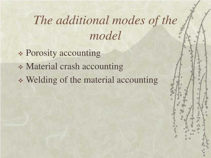 The additional modes of the model