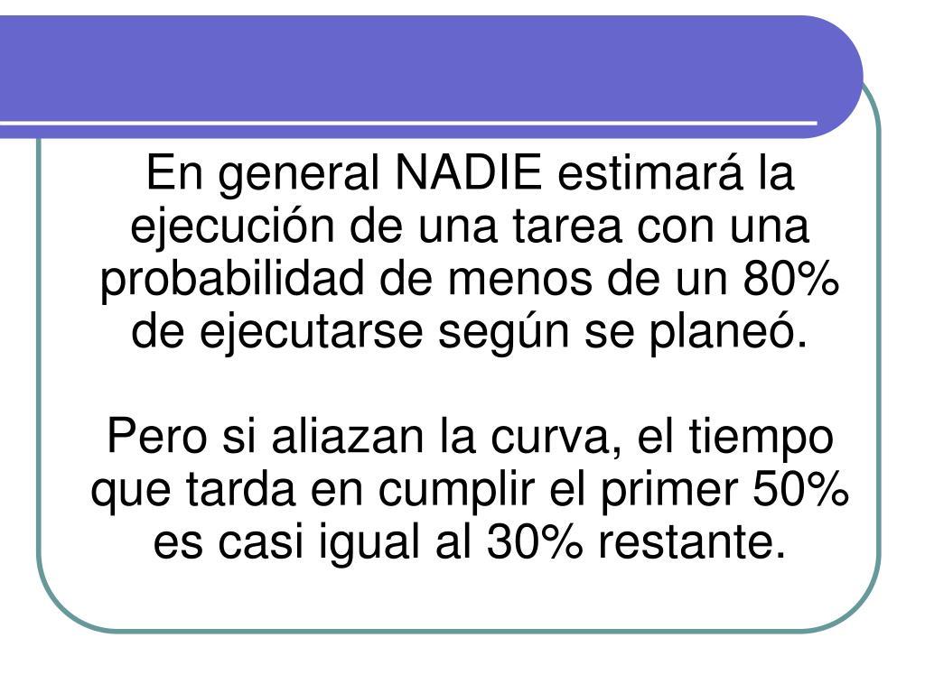 En general NADIE estimará la ejecución de una tarea con una probabilidad de menos de un 80% de ejecutarse según se planeó.