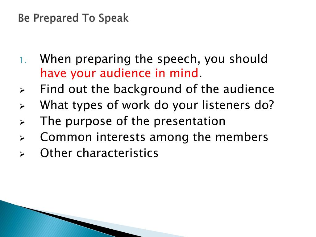 Be Prepared To Speak