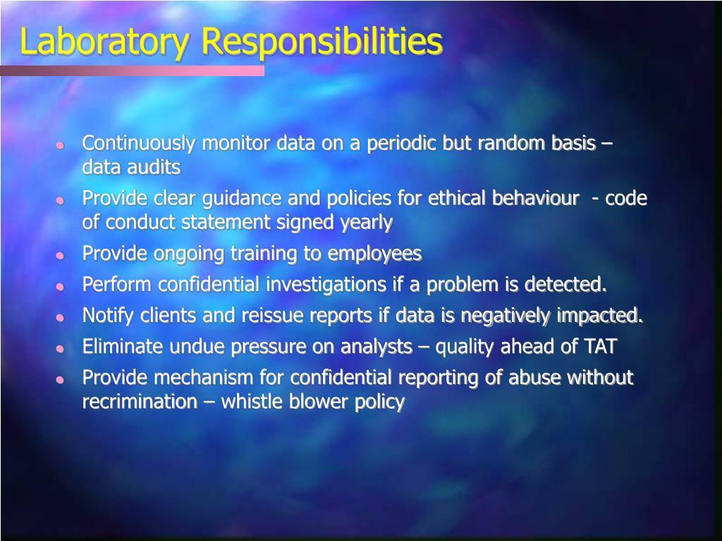 Laboratory Responsibilities