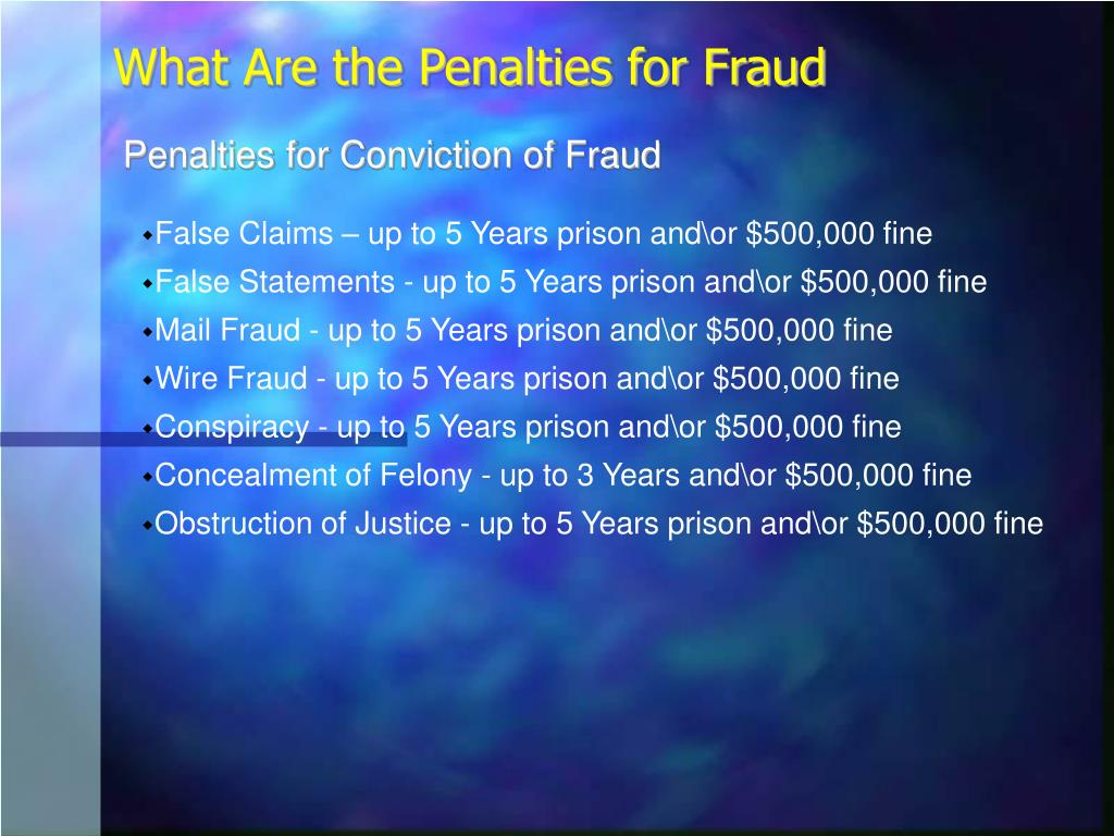 Penalties for Conviction of Fraud