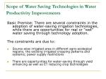 scope of water saving technologies in water productivity improvements