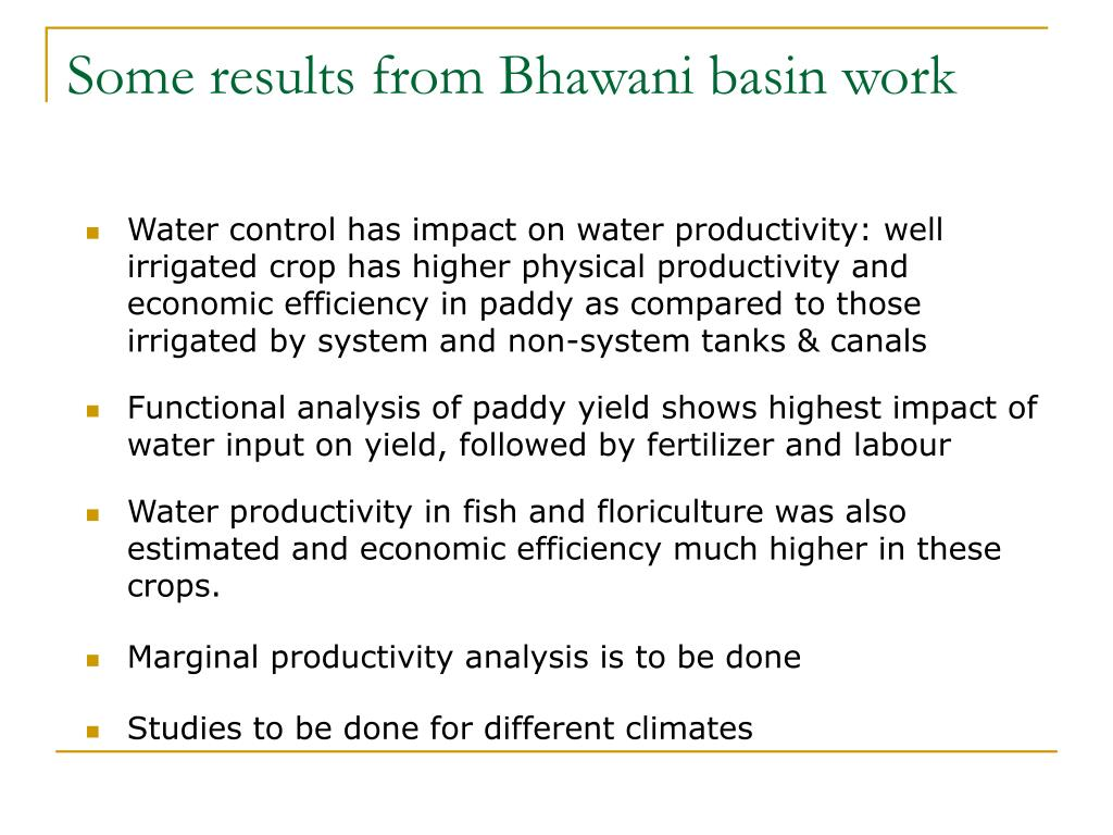 Some results from Bhawani basin work
