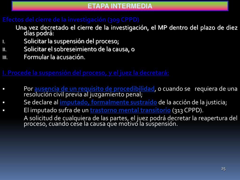 Efectos del cierre de la investigación (309 CPPD)
