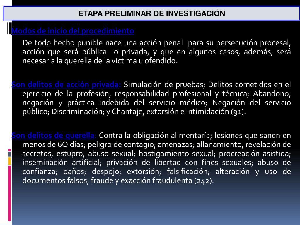 ETAPA PRELIMINAR DE INVESTIGACIÓN