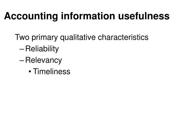 Accounting information usefulness