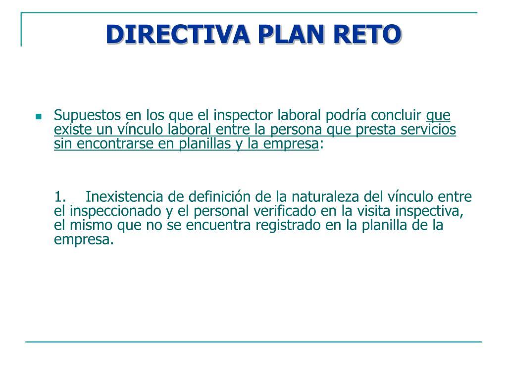 DIRECTIVA PLAN RETO