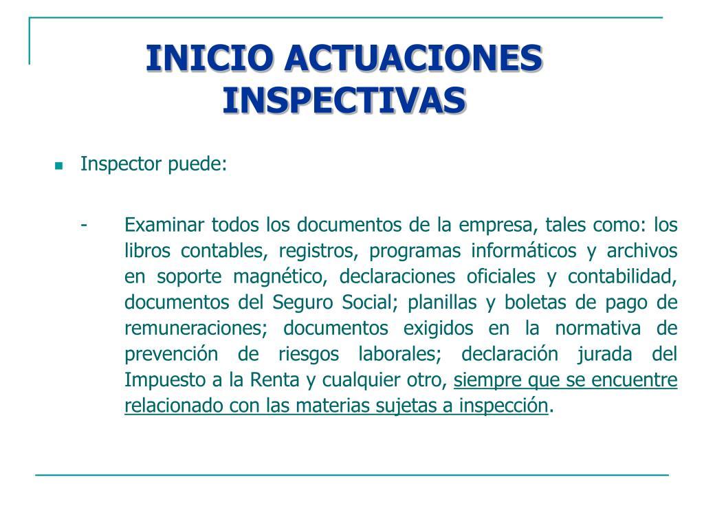 INICIO ACTUACIONES INSPECTIVAS