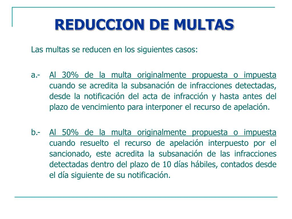 REDUCCION DE MULTAS