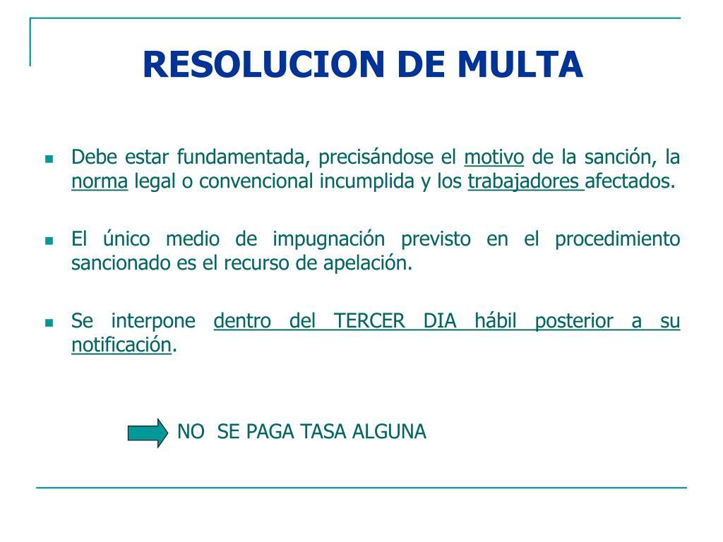 RESOLUCION DE MULTA