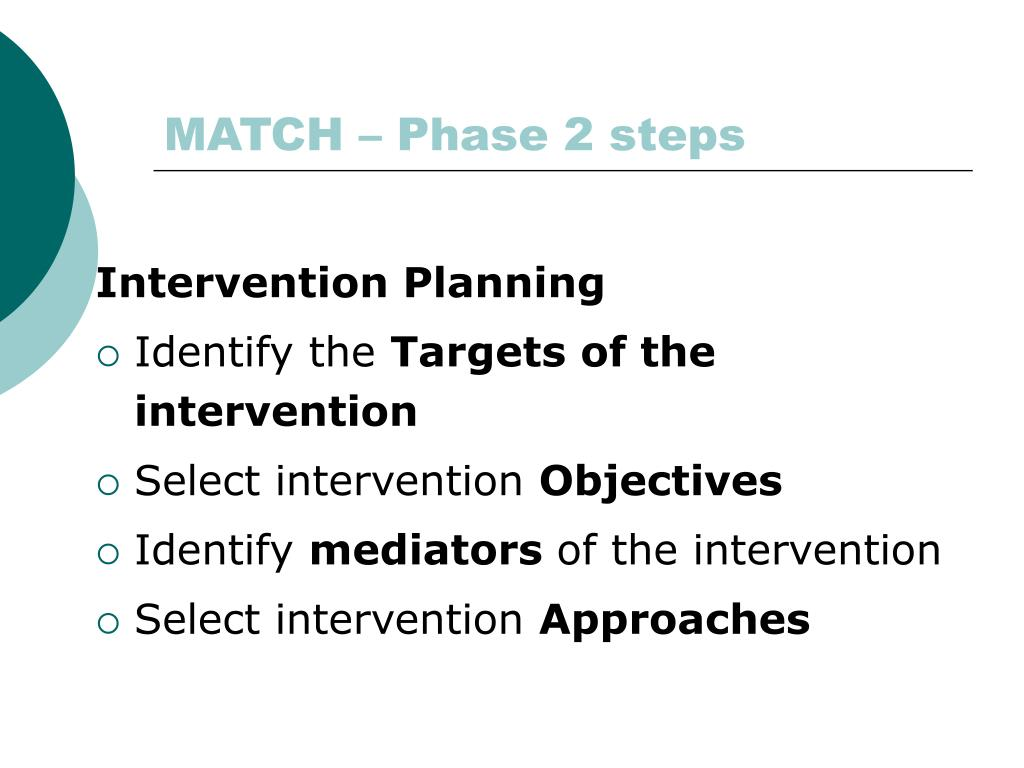MATCH – Phase 2 steps
