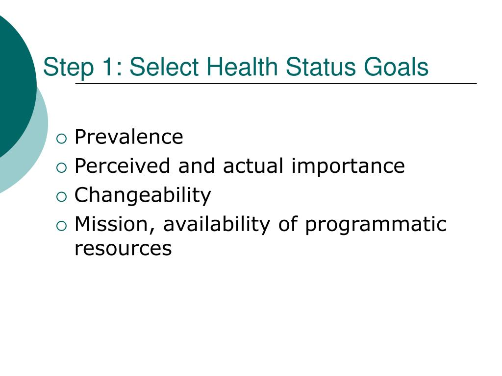 Step 1: Select Health Status Goals