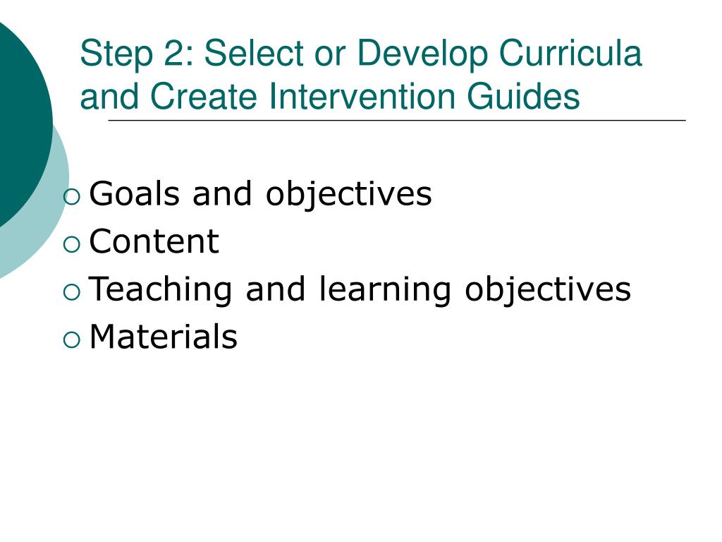 Step 2: Select or Develop Curricula and Create Intervention Guides