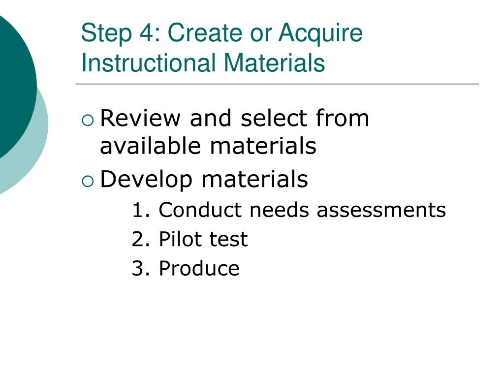 Step 4: Create or Acquire Instructional Materials