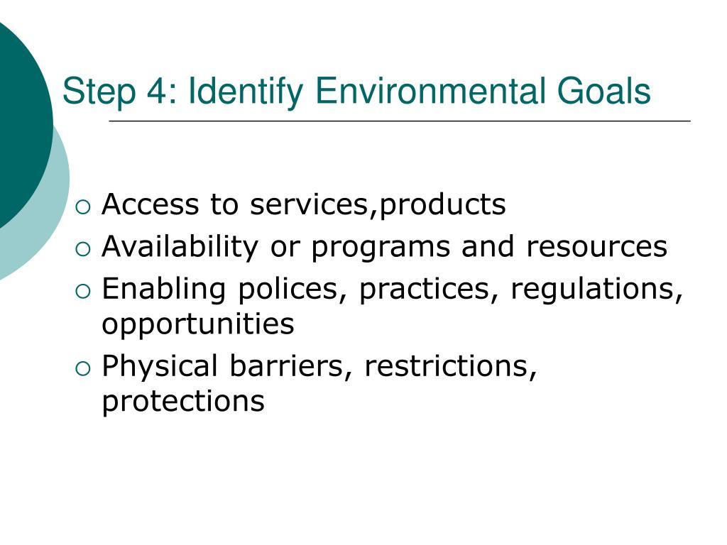 Step 4: Identify Environmental Goals