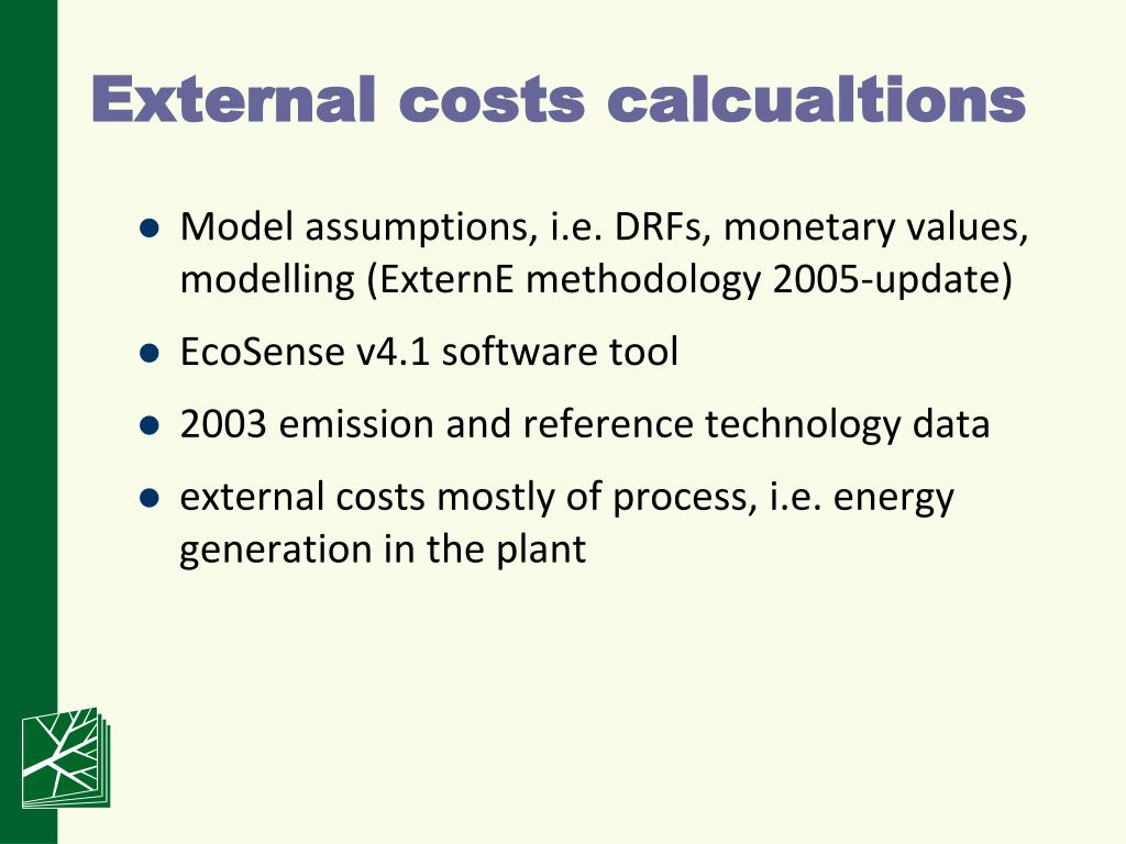 External costs calcualtions