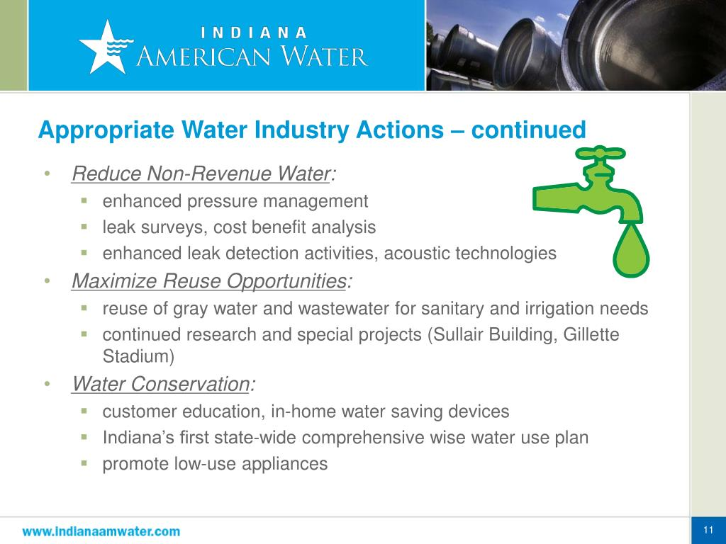 Appropriate Water Industry Actions – continued