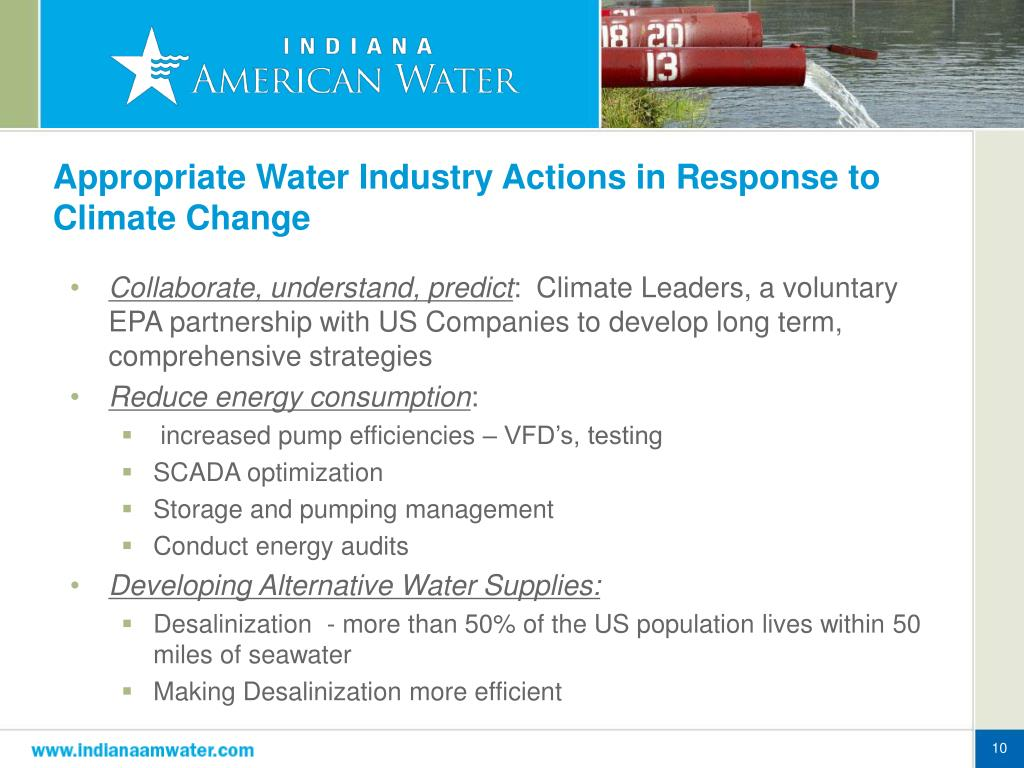 Appropriate Water Industry Actions in Response to Climate Change