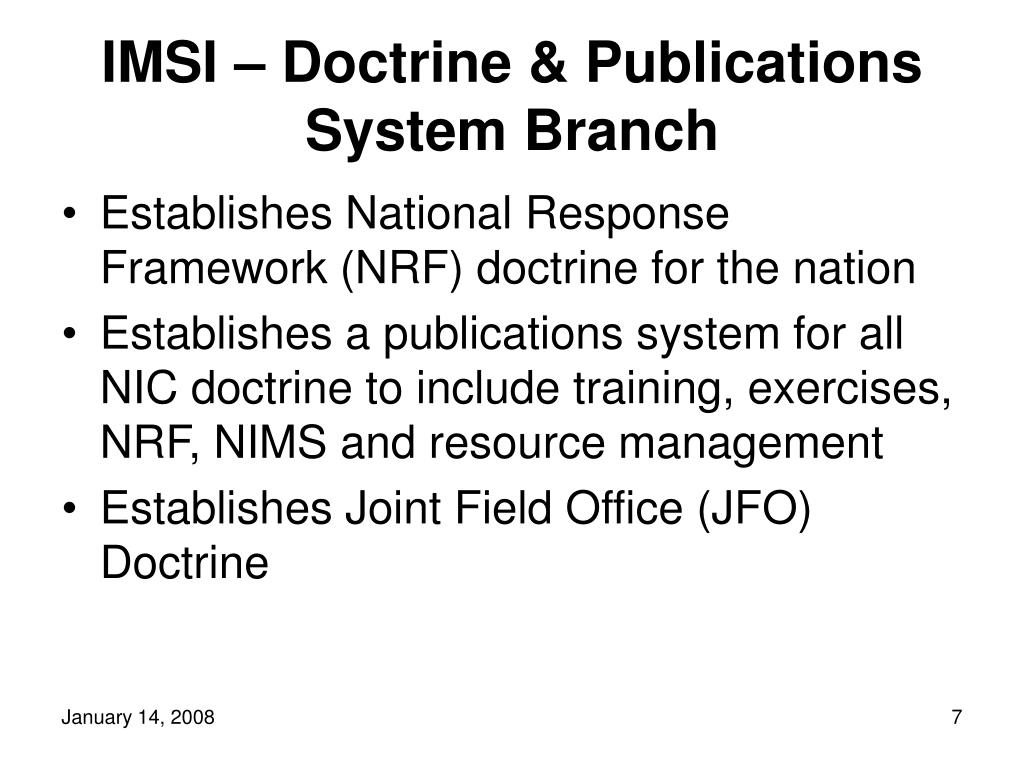 IMSI – Doctrine & Publications System Branch