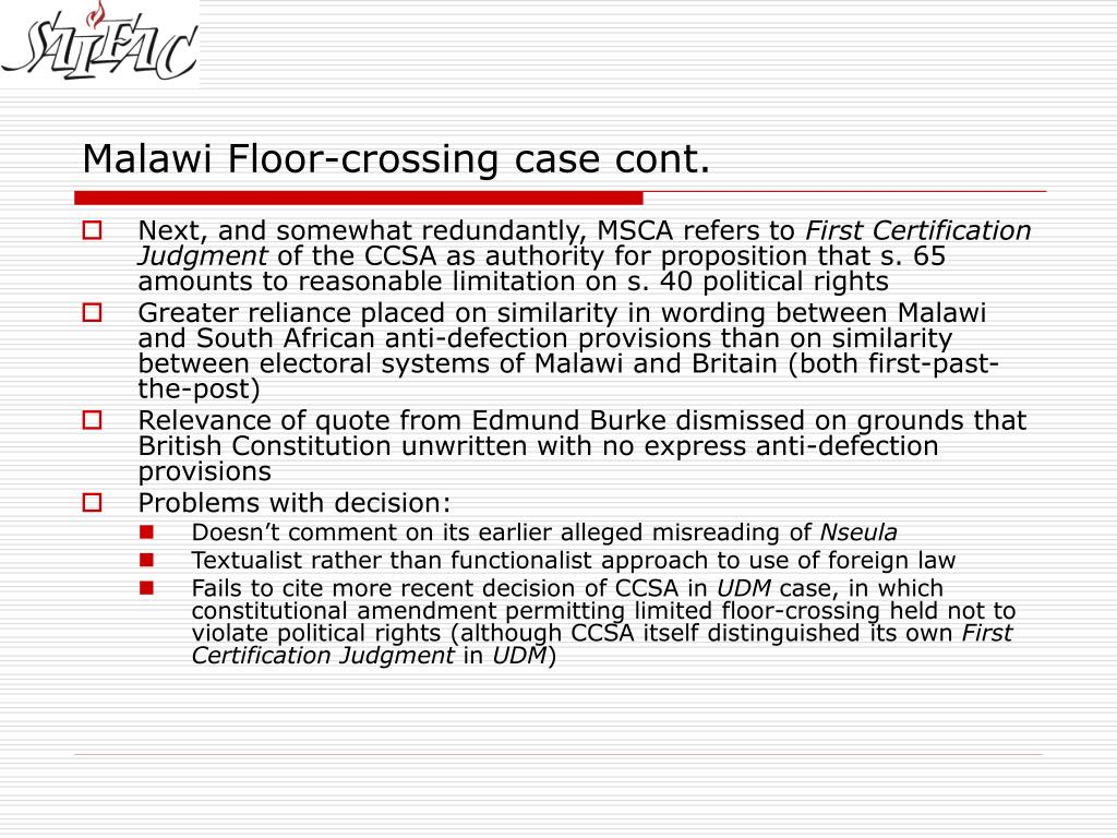 Malawi Floor-crossing case cont.