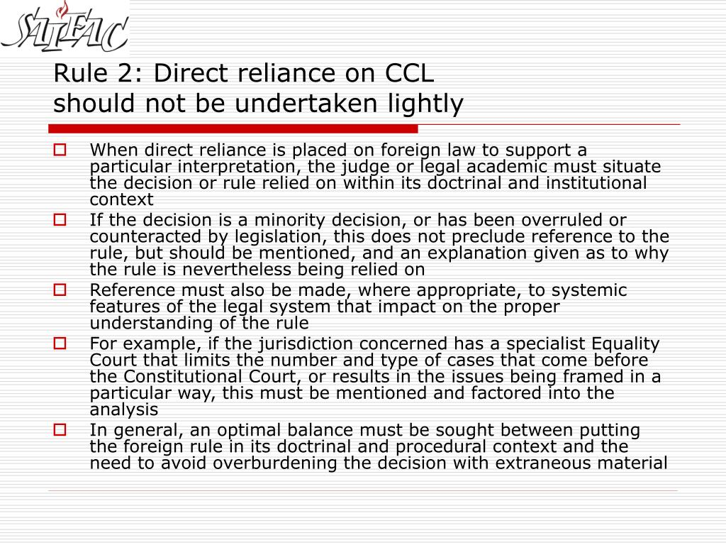 Rule 2: Direct reliance on CCL