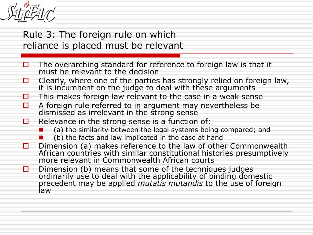 Rule 3: The foreign rule on which