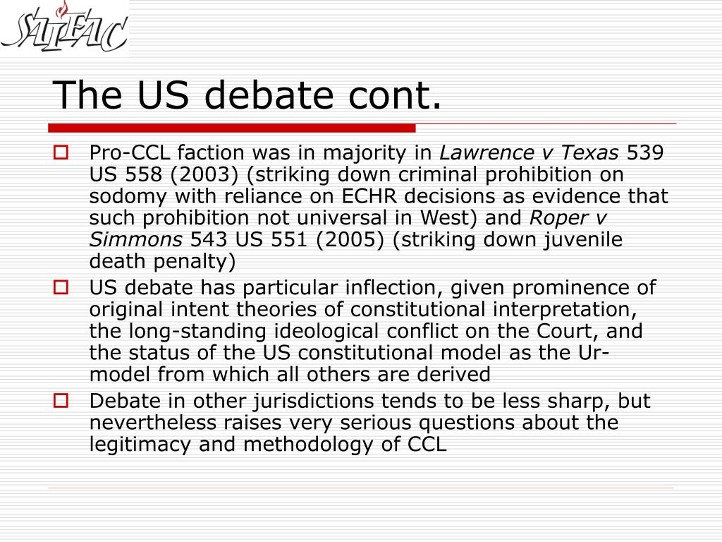 The US debate cont.
