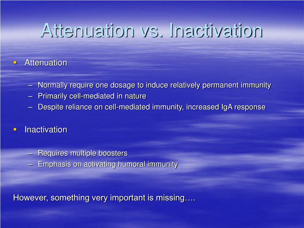Attenuation vs. Inactivation