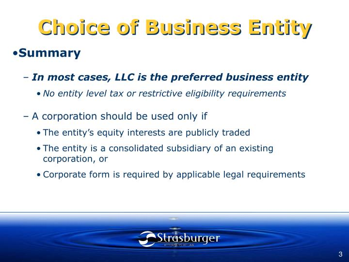 Choice of business entity3