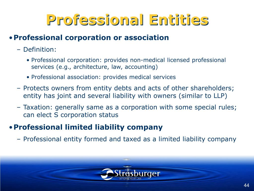 Professional Entities