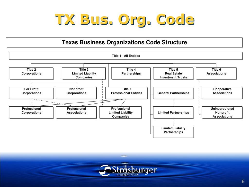 TX Bus. Org. Code