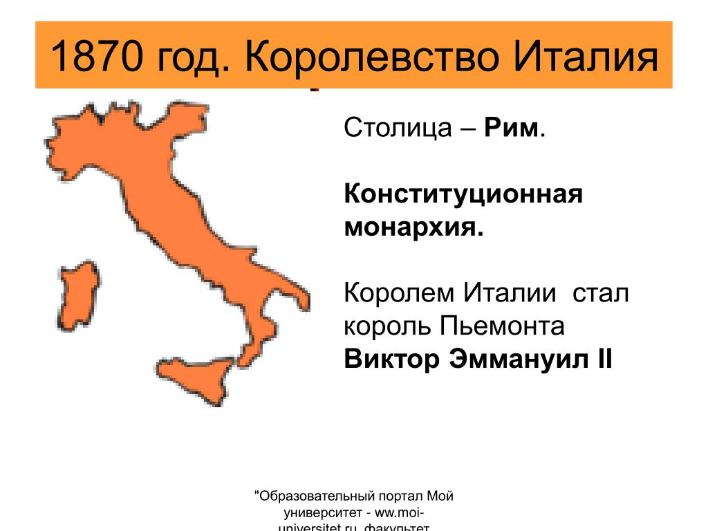 1870 год. Королевство Италия