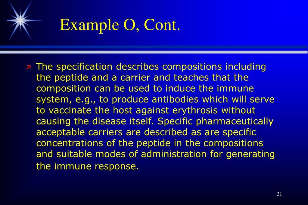 Example O, Cont.
