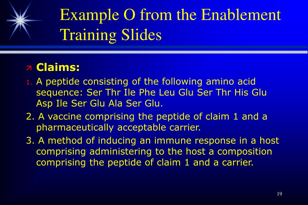 Example O from the Enablement Training Slides