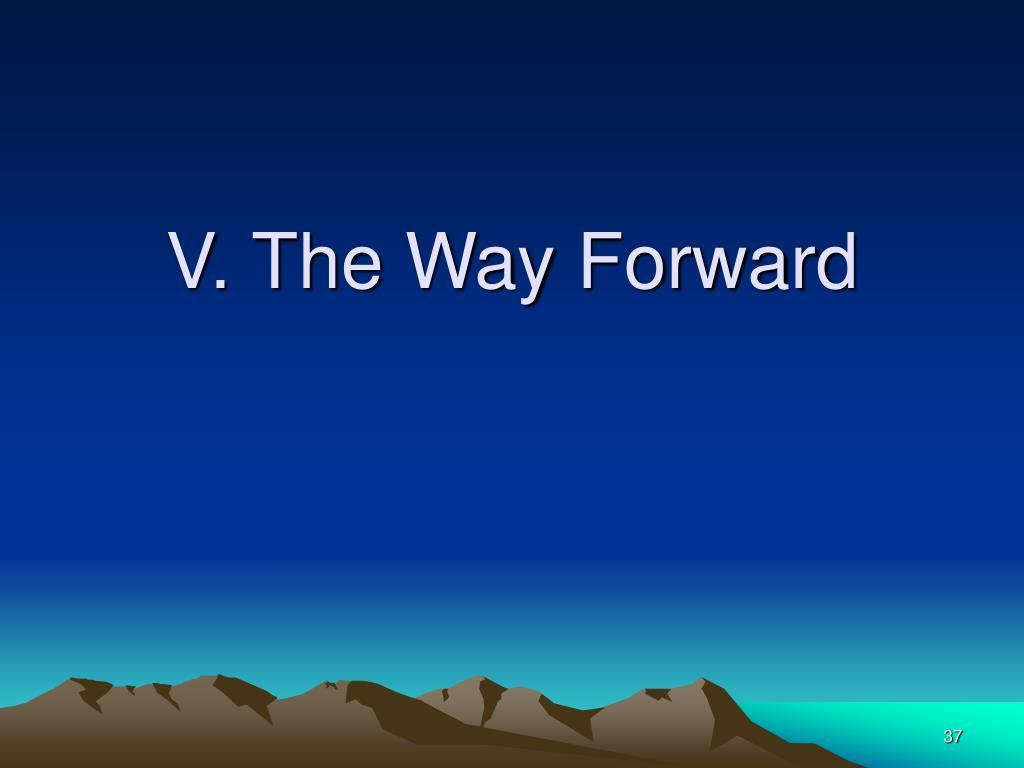 V. The Way Forward