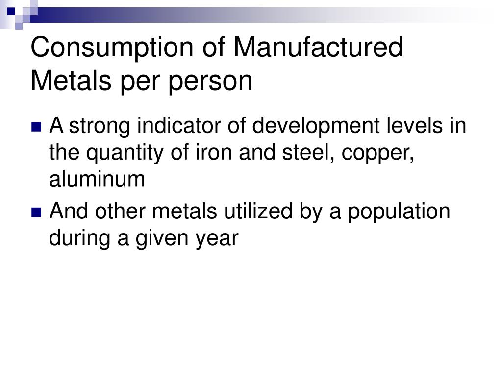 Consumption of Manufactured Metals per person